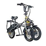 household items Bicicleta eléctrica Plegable de Tres Ruedas de 14 Pulgadas, Scooter Antideslizante para Adultos, Bicicleta eléctrica portátil para Dos Personas de 48 V