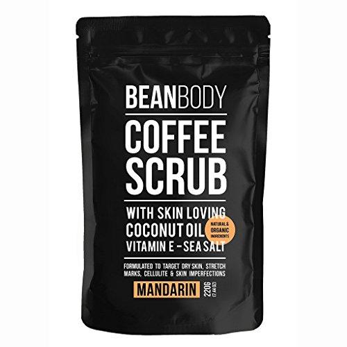 Mr. Bean Organic All Natural Coffee Bean Exfoliating Body Skin Scrub with Coconut Oil, Vitamin E, and Sea Salt- Mandarin by Mr Bean Body Care
