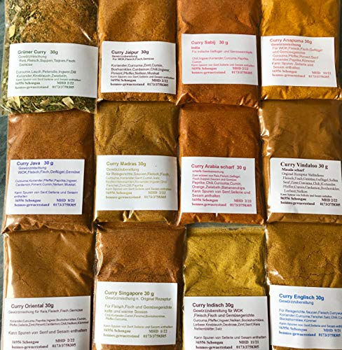 Curry Set 12 verschiedene Curries, Madras Vindaloo Jaipur Anapurna usw 12 x 30g