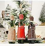 Juego de 3 fundas de botella de arpillera navideña, bolsas de botella de vino de Navidad, delantal de Navidad y sombrero, bolsas de botella de vino, decoraciones de fiesta de Navidad