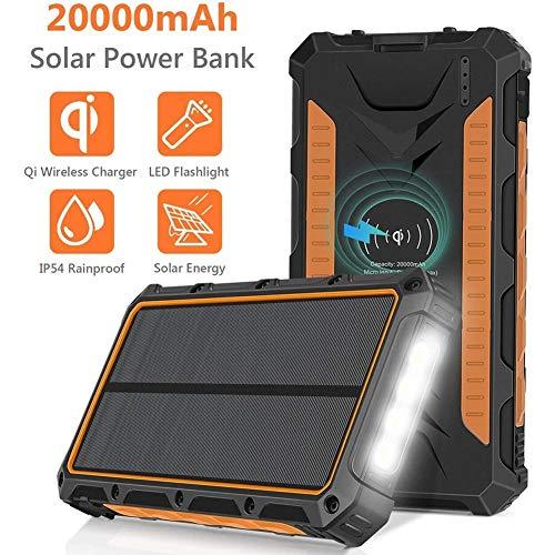 Generador Portátil Generador Inverter Cargador solar 20000mAh Banco QI energía inalámbrica portátil de batería externa del cargador del paquete, 3 puertos de salida linterna LED 4, panel solar de carg