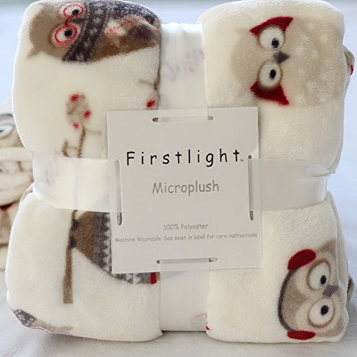 Plaid in morbido in micro pile fantasia, per poltrona e divano, 127cm x 178cm, Poliestere e misto poliestere, Owl, 127 X 178CM