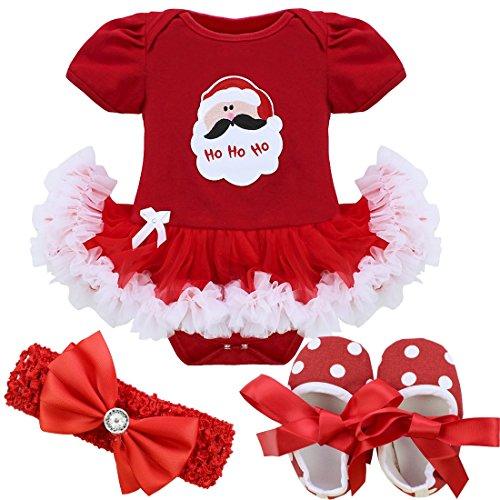 YiZYiF Neugeborenes Baby Mädchen Bekleidung Set Kurzarm Bodysuit Strampler mit Tütü Kleid Schuhe Stirnband für Weihnachten Geschenk #1 Weihnachtsmann 3-6 Monate