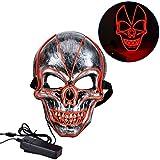 Queta LED Maske Halloween Scary Maske, Cosplay Led Kostüm Maske EL Wire Leuchtet für Halloween Festival Party DREI Modi Dauerhaft an, langsames Flackern, schnelles Flackern (Rot)