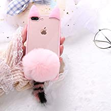 Twinlight for iPhone X Case Cute Cat Ear Winter Warm Fur Ball Clear Cover for iPhone Xs Case for iPhone 7 8 Plus X XS Case (Pink, for iPhone X XS)