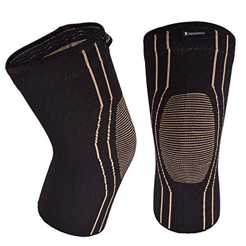 Thx4COPPER Sports Compression Knee Brace for Joint Pain and Arthritis Relief, Improved Circulation Support for Running, Jogging, Workout, Gym-Best Knee Sleeve-Single-Large