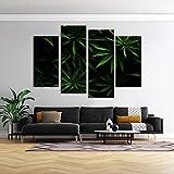 KOPASD 4 Paneles Pintura de la Lona Mural Cannabis Verde Arte Fotos Paisaje Imprimir Decoración Moderna del Ministerio del Interior Sin Marco 160 * 100cm