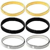 Siming Maniche di 3Paia, Camicia Manica Manicotti Stretch Armband in Metallo, Argento, Oro e Nero