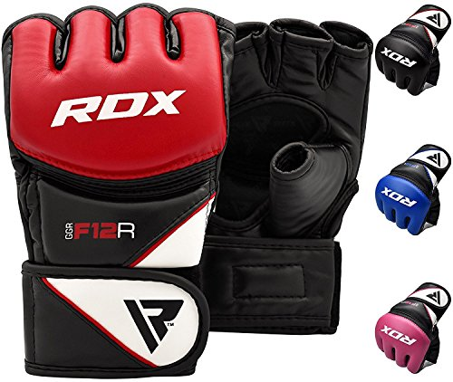 RDX Maya Hide Leather Grappling MMA Gloves UFC Cage Fighting Sparring Glove Training F12 - Large, Red