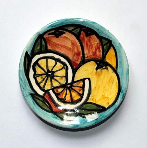 Orangen und Zitronen - Handgefertigter Keramik Teller, Durchmesser cm 9,7,Höhe cm 2,2 Hergestellt in Italien, Toskana, Lucca. Erstellt von Davide Pacini.