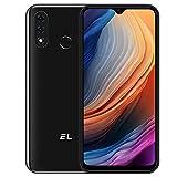 EL D60 Pro Smarthphone Libre, Android 10 4G Teléfono Móvil 3GB + 32GB (SD 128GB) Pantalla 6,1 Pulgadas, Batería 4000mAh, Cámara Triple 13MP Movil Libre Barato Dual SIM Face ID/Huella Dactilar- Negro