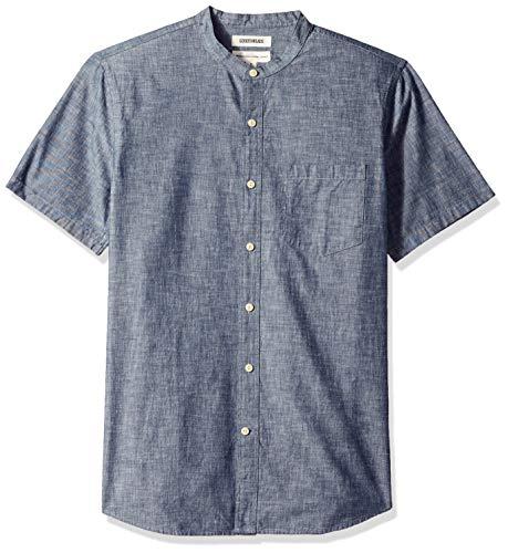 Amazon Brand - Goodthreads Men's Standard-Fit Short-Sleeve Band-Collar Chambray Shirt, -navy, X-Large