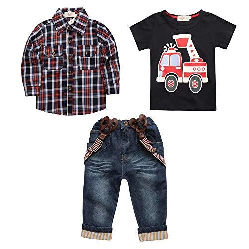 Hooyi - Juego de 3 pantalones vaqueros para nios a cuadros camisa general de coche camiseta ropa de juego para nios Fire Engine Tops pantalones traje