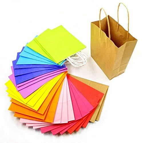 JZK 30 Mehrfarben Kraftpapiertüten Papier Partytüten mit Griffen Papiertüten Geschenktüten für Hochzeit Geburtstag Tüten Süßigkeiten Geschenk Giveaways Mitgebsel