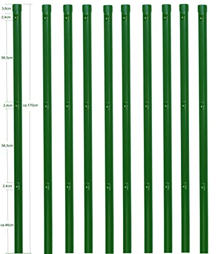 10 Metall Zaunpfosten rund Ø 34 mm für 1,2 Meter hohe Metallzaun Anlage in grün aus Maschendraht. Zaun Pfahl 1700mm lang zum einbetonieren mit Kappe und 3 montierte Spanndrahthalter.