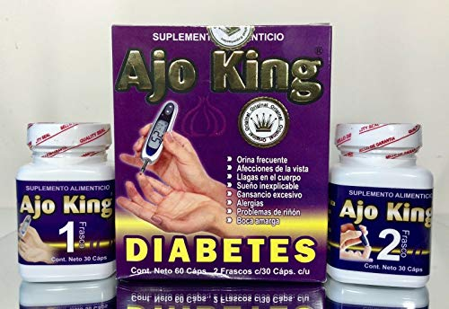 AJO King Diabetes 100% Original 2 BOTELLAS 60 tabletas