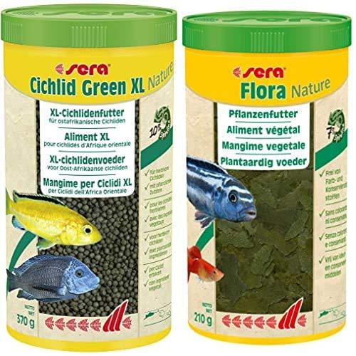sera Bundle Malawi Futter Set XL bestehend aus Cichlid Green XL 1 Ltr. (mit 10% Spirulina) & Flora 1 Ltr. (mit 7% Spirulina) pflanzliches Futter für Herbivore Cichliden z.B. Malawi & Tropheus Moorii
