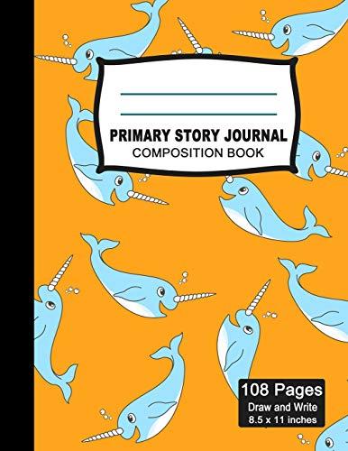Primary Story Journal Composition Notebook: Beautiful Handwriting Write and Draw Journal for Preschool, Kindergarten, 1st & 2nd grades kids, Cute ... with picture space and dashed Mid line Grades