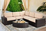 SOLAURA 6 Pieces Furniture Outdoor Sectional Sofa All Weather PE Rattan Modular Outdoor Furniture Patio Conversation Set Outdoor Patio Furniture with Cushions and Glass Table (Brown)