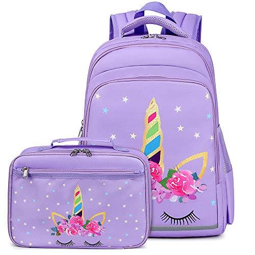 Kids Backpack for Girls Bookbag School Bag Preschool Kindergarten Toddler Backpack with Lunch Box Purple