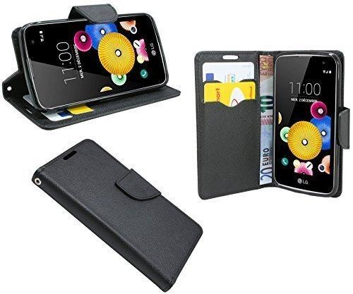 ENERGMiX Buchtasche kompatibel mit LG K3 Hülle Hülle Tasche Wallet BookStyle mit Standfunktion in Schwarz