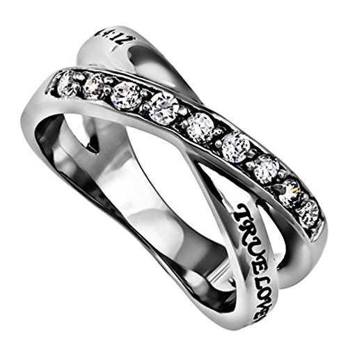 Sterling Silver And Steel True Love Waits Purity Ring, Christian Bible Verse, Church Chastity...