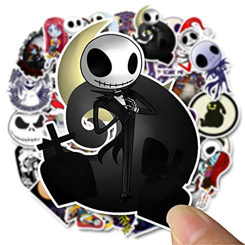 50 Stück Halloween-Aufkleber Nightmare Before Christmas und Tim Burton's Aufkleber für Laptop, Auto, Helm, Skateboard, Gepäck, Graffiti-Aufkleber (Halloween)
