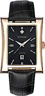 ساعة يد كوارتز بسوار جلدي مقاوم للماء بتصميم مستطيل لافتة للنظر