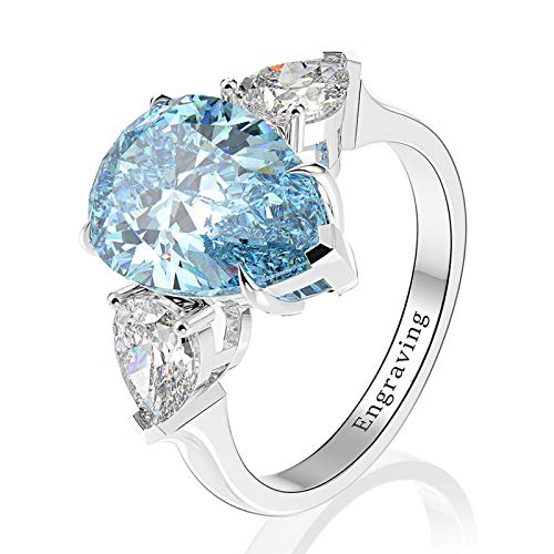 Adokiss Jewellery Sterling Silver Ring,Engagement Ring for Women Pear Shape Light Blue Cubic Zirconia 14x10mm Size J 1/2,Birthday Gift for Your Wife/Girfirend/Mother