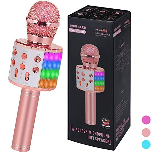 ZZLWAN Bluetooth Wireless Singing Karaoke Microphone for Kids Toys Age 5-12,Top Birthday Gifts for 6 7 8 9 10 Year Old Girl Teens,Popular Toddler Toys for 3 4 Yr Old Little Girls