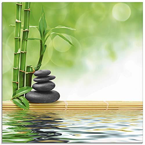 Artland Glasbilder Wandbild Glas Bild einteilig 20x20 cm Quadratisch Asien Wellness Zen Spa Steine Bambus Entspannung Grün T5OP