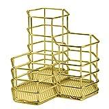 Nsiwem Portapenne 1 pezzo Portamatite da Scrivania Porta Pennelli Make Up in Metallo Organizer da Scrivania Oro Contenitore a Griglia per Casa Scuola Ufficio