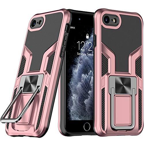 LaimTop iPhone SE 2020 Funda, Doble Capa con Soporte de Metal, Resistente...