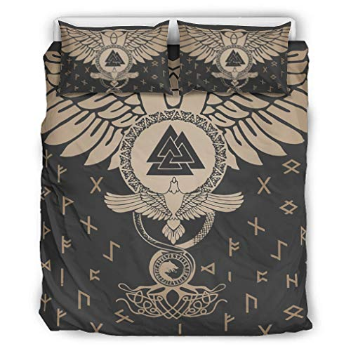 3Pc Bed Sheet Set Viking Ravens And Valknut Bedspread Cover Set Premium Quality Wrinkle Free Easy Fit for Home Bedroom white 104x90 inch