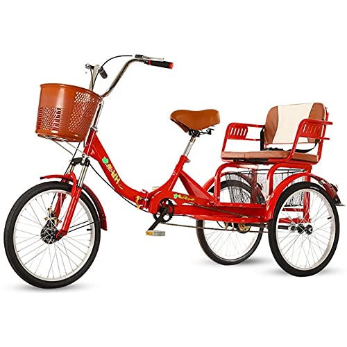 zyy Adult Tricycle 1 Speed Size Cruise Bike 20 Inch Adjustable Trike with Brake System Cruiser Bicycles with Low Step Through with Cruiser Bike Seat and Bike Basket Exercise Bike Color Red