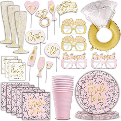 Bachelorette Party Supplies for 16 - Plates, Cups, Napkins, Giant Diamond Ring Foil Balloon, Bachelorette Glasses, Photo Booth Props, Champagne Cups, Tattoos - Great Bridal Shower Tableware and Decorations