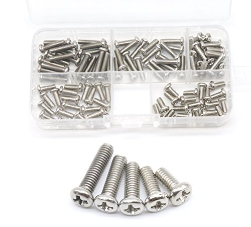 cSeao 100pcs M4 Pan Head Phillips Machine Screws Assortment Kit, 304 Stainless Steel, M4x 8mm/ 10mm/ 12mm/ 14mm/ 16mm