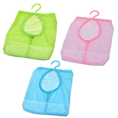 Cosmos Pack of 3 Assorted Colors Clothespin Bag Hanger Multi-Purpose Mesh Organizer Bag