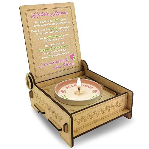 Candle IN THE BOX, Mama von Tochter Kerze, Geschenkidee für Mama, Deko Geburtstag, Danke Mama Teelicht, Geburtstagsgeschenk Mutter, Holz Geschenke