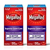 Omega-3 Krill Oil and Joint Supplement 353mg, Megared Joint Care Softgels (30 Count In A Bottle) - EPA/DHA fatty acids, Antioxidants, Hyaluronic acid, No fishy burp aftertaste as with Fish Oil (Pack of 2)