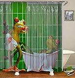 Chickwin Duschvorhang Wasserdicht Anti-Schimmel 3D Tier Drucken Polyester Bad Vorhang mit 12 Duschvorhangringe für Badezimmer Decor (180x200cm,Grüner Frosch)