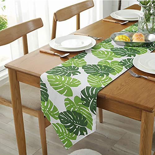 Bestenrose liefern Tischläufer/Tischdecke Dekoration 2 Seiten Baumwolle Leinen Klassische Tischwäsche Matte für Esszimmer Party Urlaub Dekoration (Grüne blätter, 32 * 210cm)