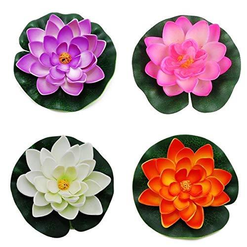 Depory Schwimmende Teichdekoration Seerose / Lotusblüte, Schaumstoff, 10 cm, 4 Stück (4 Farben)