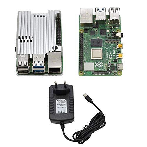 RLJJCS1163 RPI 4B 2G RAM DIY Kit con Negro/Rojo/Amber/SLIGEN/Azul/Caja de protección de aleación CNC de Aluminio Azul y 5V 3A Fuente de alimentación Enchufe de la UE