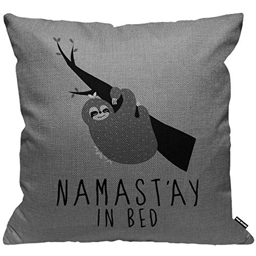 HGOD DESIGNS Cushion Cover Namastay In Bed Sloth On The Tree Gray Throw Pillow Cover Home Decorative for Men/Women/Boys/Girls living room Bedroom Sofa Chair 18X18 Inch Pillowcase