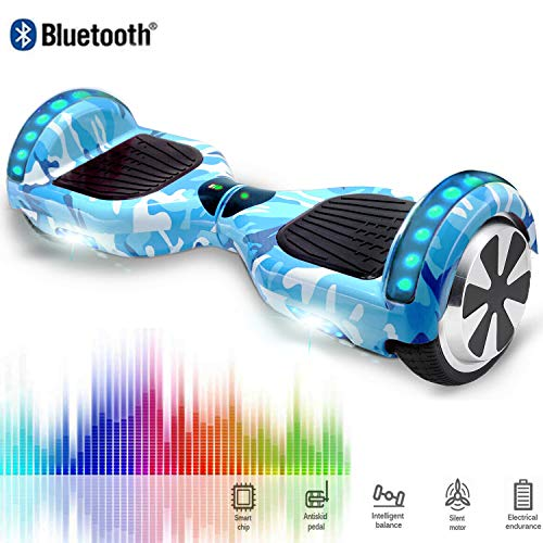 CHIC 6,5 Zoll Self Balance Board, Elektro Skateboard Elektroroller, Smart Self- Balancing Scooter Räder mit LED-Licht, Motor 350W*2 Bluetooth für Kinder und Erwachsene- Blau