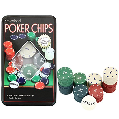 PROTOS INDIA.NET ™ 100pc Poker Chips Poker Game 100 Chips + Dealer Button Chip Holder and Tin Storage Box Set