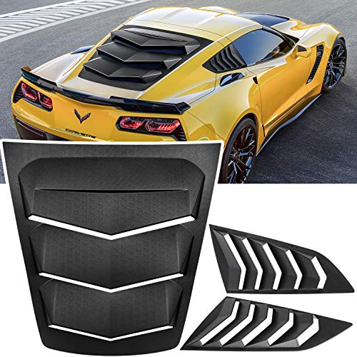 E-cowlboy Rear+Side Window Louver Windshield Sunshade Cover for 2014 2015 2016 2017 2018 2019 C7 Corvette Stingray Grand Sport Z51 Z06 ZR1 in GT Lambo Style ABS (Matte Black)