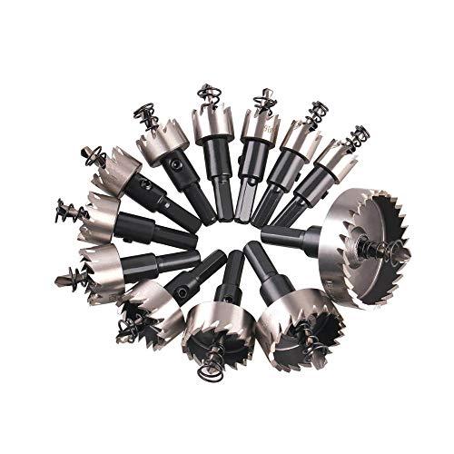 Brocas Para 12 unids hss taladro 15-50 mm orificio conjunto de sierra con punta de carburo madera de metal de metal orificio de orificio cortador de orificio cortador de herramientas de mano