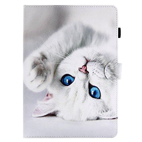 Succtop Coque iPad 6a Generation 2018 Etui Coque iPad 2017 5a Generation Housse en Cuir PU Portefeuille Porte-Stylo Flip Stand Coque pour iPad 9.7 Pouce 2017/2018,iPad Air/Air 2 - Chat Blanc